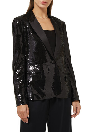 Rylee Sequined Tuxedo Jacket