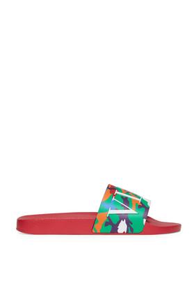 Valentino Garavani Camou7 Rubber Slide Sandals