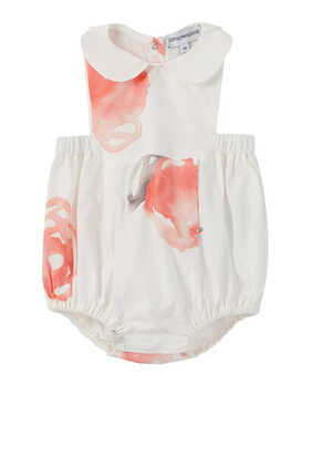 Macro Rose Cotton Poplin Romper
