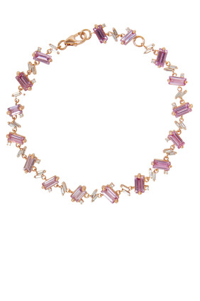 One of A Kind Pink Sapphire and Diamond Bracelet