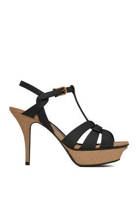 Tribute Platform Sandals in Smooth Leather and Rope