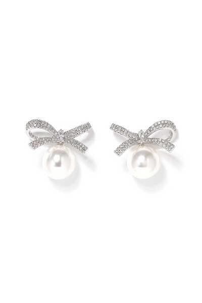 Baguette Bow Pearl Stud Earrings