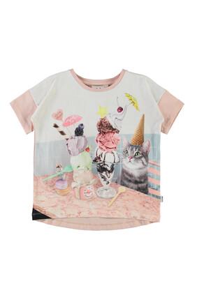 Cat With Ice Cream Print T-shirt