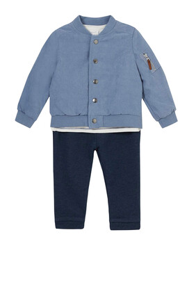 Bomber Jacket, Stripes T-shirt & Pants Set