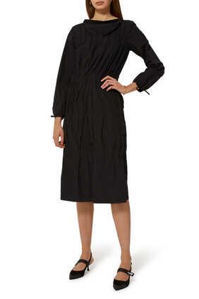 Tiered Ruched Poplin Dress