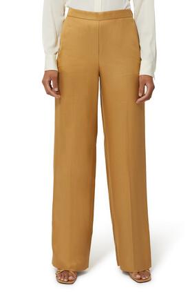Wide Leg Pull On Twill Pants