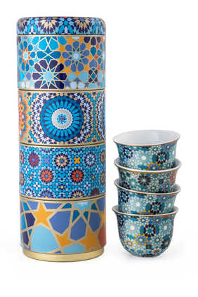 Moucharabieh Tin Box With Cups, Set of Four