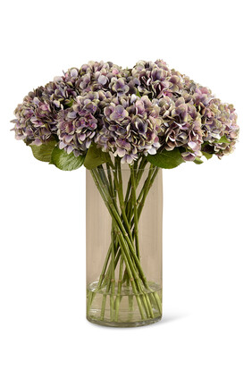 Artificial Hydrangea Arrangement in Glass Vase