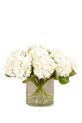 Artificial Hydrangeas in Glass Vase
