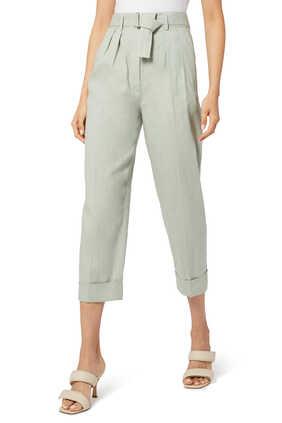 Linen Cotton Belted Cuff Pants
