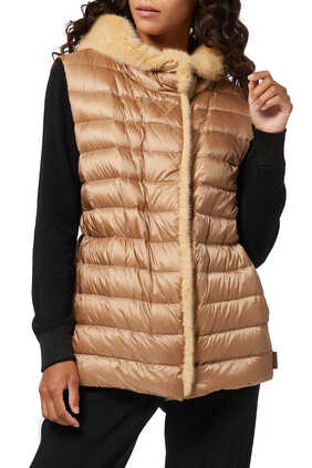 Beurre Mink Fur-Trim Hooded Jacket