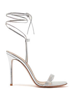 Ankle Tie-Up Metallic Leather Sandals