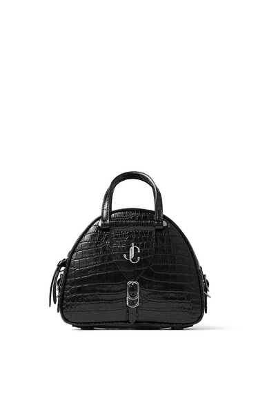 Black Shiny Croc-Embossed Leather Bowling Handbag with Silver JC logo Varenne Bowling Mini