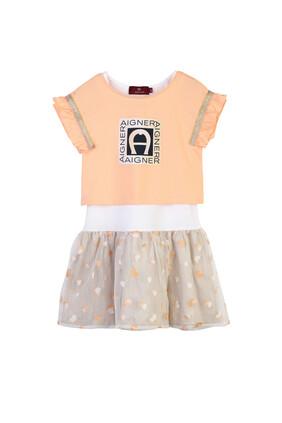 Logo Ruffle Skirt Dress