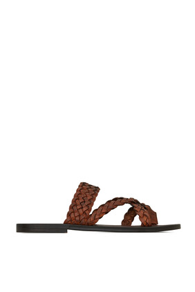 Neil Braided Leather Slides