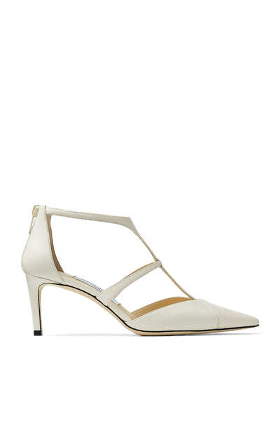 Latte Nappa Leather Pumps with T Strap Saoni 65