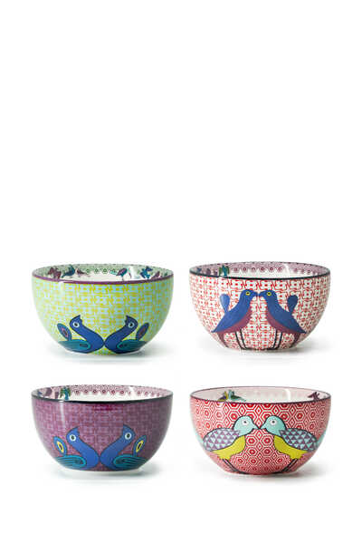Birds of Paradise Bowls, Set of Four