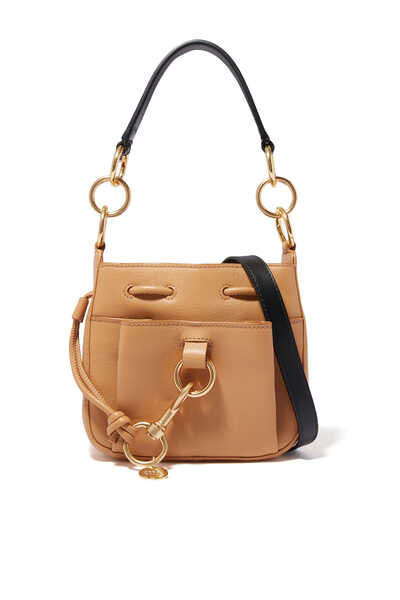 Small Tony Bucket Bag in Grained & Smooth Cowhide