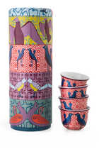 Birds of Paradise Tin Box With Cups, Set of Four