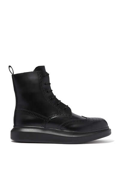 Hybrid Leather Lace-Up Boots