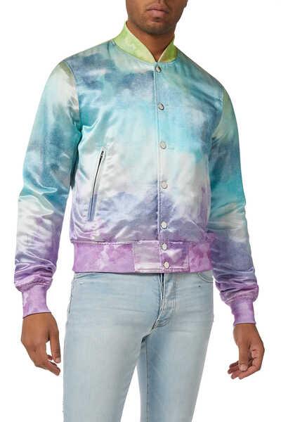 Watercolor Print Bomber Jacket