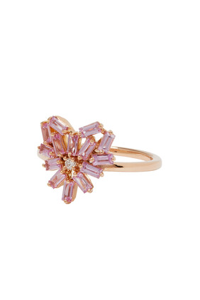 Fireworks Small Rounded Pink Sapphire Heart Ring