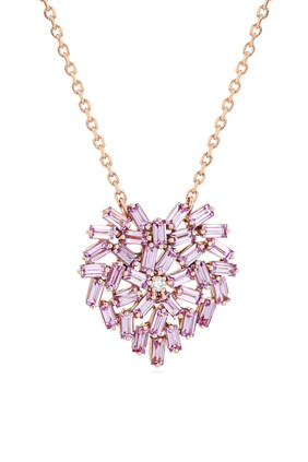 Fireworks Pink Sapphire Heart Necklace