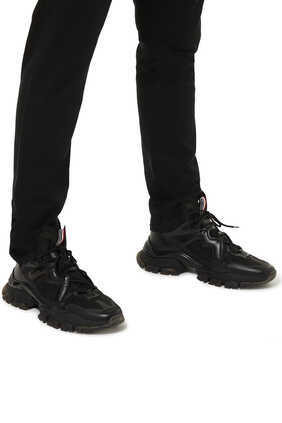 TIMAEL TRANSPARENT RIPSTOP AND LEATHER SNEAKER:BLK:42