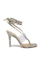 Melanie Plexi Ankle Wrap Sandals
