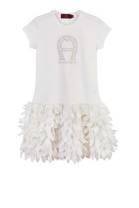 Logo Feather Skirt Dress