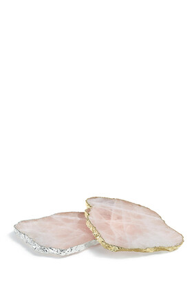 Rose Quartz Gold Kivita Coasters, Set of Two