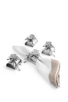 White Orchid Napkin Rings, Set of Four