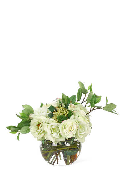White Rose Bouquet With Glass Bubble