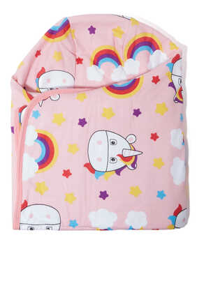 Unicorn Printed Two-Sided Hooded Towel