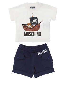 Pirate Teddy Bear T-Shirt Shorts Set