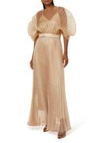 Pleated Fan Sleeve Gown
