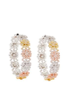 Pavé Blooms Hoop Earrings