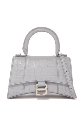 Hourglass XS Crocodile-Effect Top Handle Bag