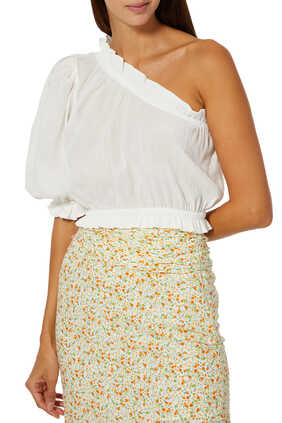 One Shoulder Cotton Cropped Top