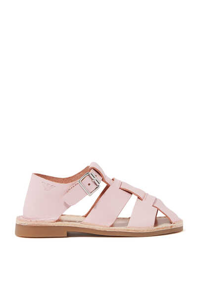 Crossover Strap Leather Sandals