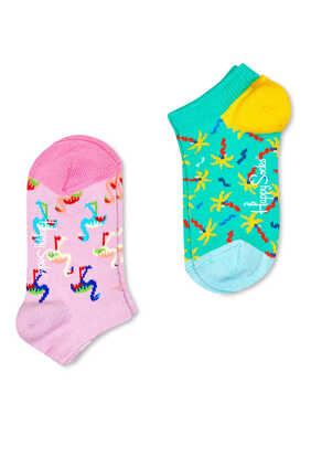 Confetti Palm Low Socks, Set of Two