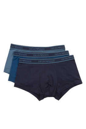 Cotton Logo Waistband Trunks, Pack of Three