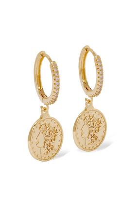 Coin Charm Hoop Earrings