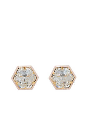 Swarovski Hexagon Stud Earrings