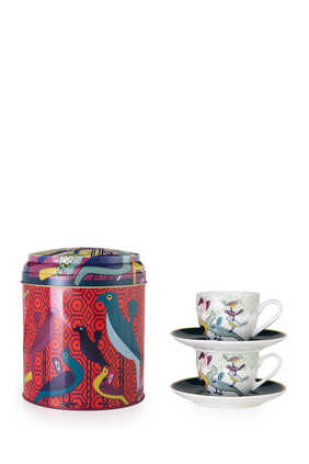 Birds of Paradise Tin Box With Cups and Saucers, Set of Two