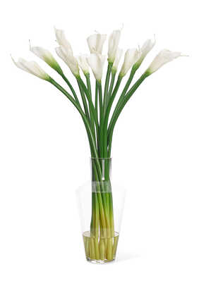 Lily With Glass Vase