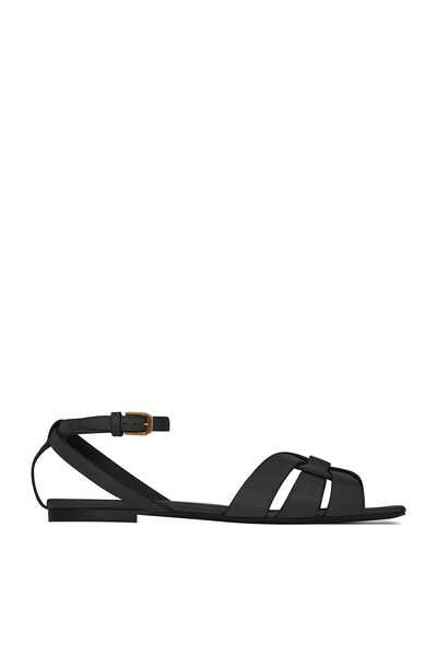 Tribute Flat Sandals in Smooth Leather