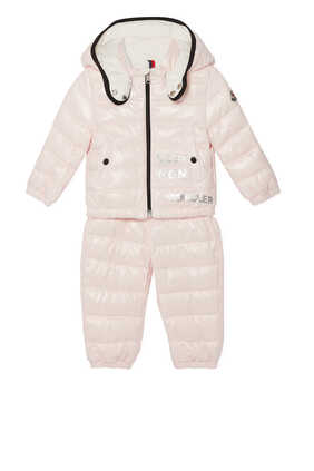 Puffer Jacket & Dungaree Set