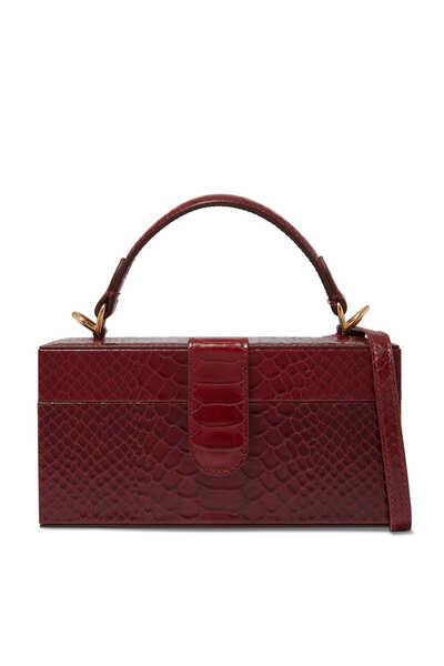 Portia Python-Embossed Top Handle Bag